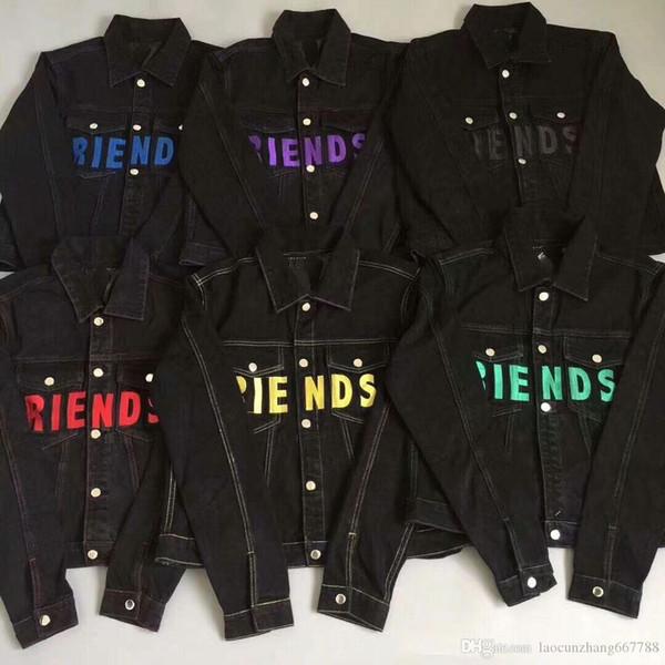 Новый стиль Top Классический красный пиджак ДРУЗЬЯ Письмо Печать Поп Женщины Мужчины джинсовые куртки Хип-хоп скейтборд Coat 6 цветов