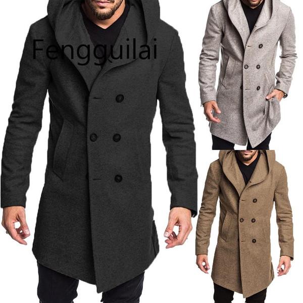 FENGGUILAI 2019 Novo Estilo de Moda Quente de Inverno Quente dos homens Sólidos Botão Com Bolso Estilo Britânico De Lã Casaco de Trincheira Casuais