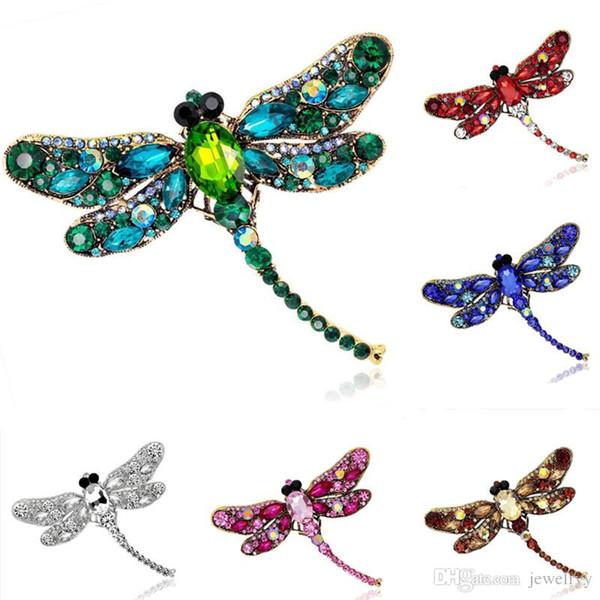 Perni di spilla d'epoca pieno strass libellula multicolori di cristallo costume animale Pin Breastpin Party Dress gioielli regalo di compleanno