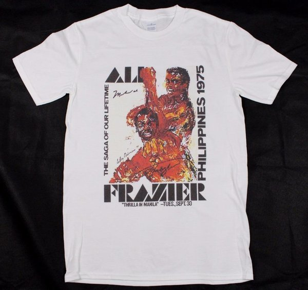 Muhammad Ali V Joe Frazier Thrilla in Manilla White T-Shirt S-XXXL boxing mma Funny free shipping Unisex Casual