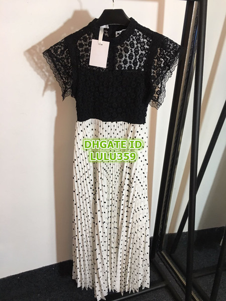 2019 Women's Polka Dot Pleated Dresses Fashion Polyester Cap Sleeve Mid-Calf The High Quality Customize Dresses S-M-L