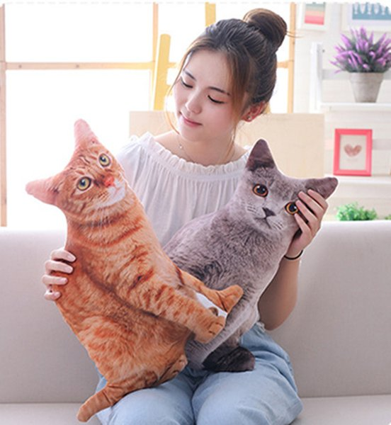 20170726 Hot Sales Of Creative Simulation Cat Pillow Big Face Stuffed Animals Plush Toy Easter Gift For Girl