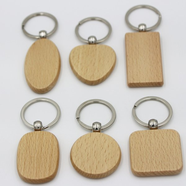 best selling Promo Personalized engrave craft gifts blank Natural wooden key ring variety shapes round square heart key chain tag anti lost wood keychain