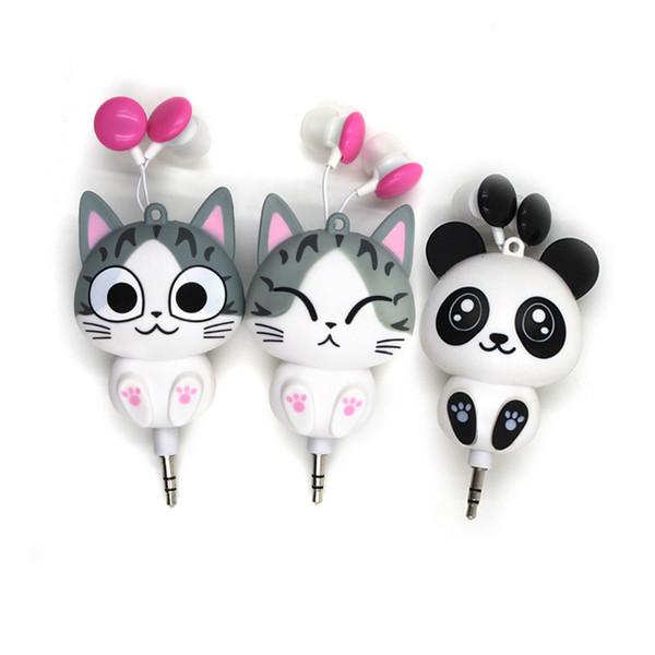 3,5 mm con cable retráctil en la oreja los auriculares auriculares de dibujos animados Cat / Panda Auriculares Auriculares MP3 para iPhone X Samsung Xiaomi