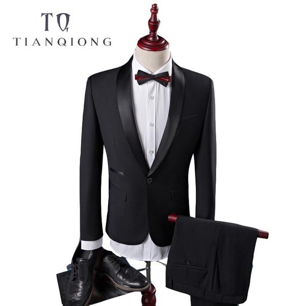 Tian Qiong Cheap New Coat Pant Designs High Quality Cotton Black Casual Suits Men,wedding Adress Casual Suit Men,plus-size S-4xl Y190417