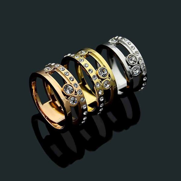 Factory price direct selling fashion ring European and American sliding drill ring men and women slip drill ring