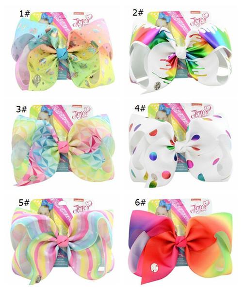 Baby Girls Jojo Pinza de Pelo con Cartón de Dibujos Animados Unicornio Grosgrain Ribbon Hairclip Barrettes bowknot Horquillas Bricolaje Regalo de Accesorios de Pelo A22501