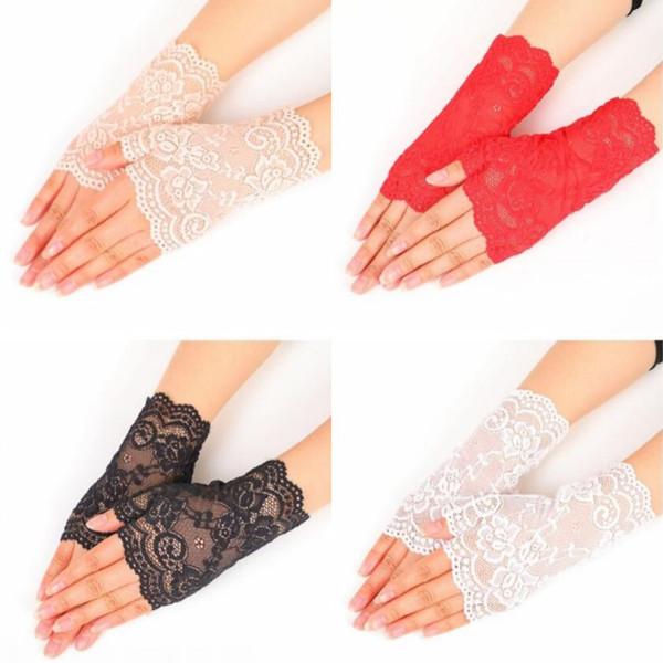 Кружева Semi Finger Перчатки Свадебные Перчатки Подружки Невесты На Открытом Воздухе Женщина Лето Вождения Анти-Уф Тонкий Кружева Сплошной Цвет Бесплатная доставка