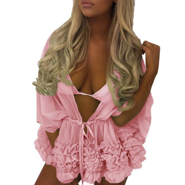 Women Bikini Swimsuit Summer Beach Solid Batwing Sleeve Blouse Cover Up Robe Beach Wear Boho