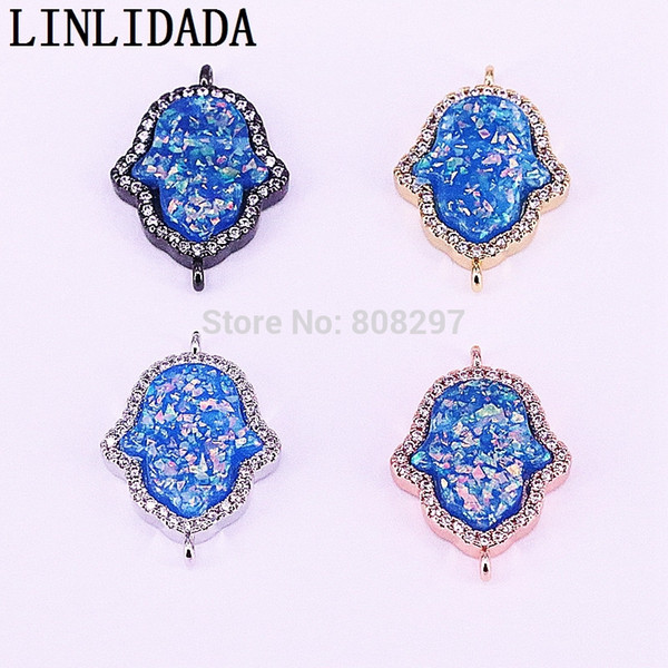 15Pcs Fashion Stone Connector Beads with CZ Micro Pave Hamsa Hand Gem Beads For Bracelet Necklace Making