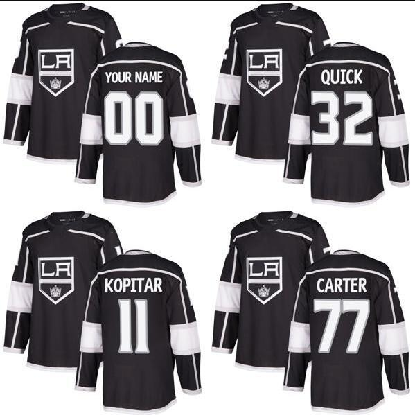 2018 New Brand Adulti Los Angeles Kings 11 Anze Kopitar 32 Jonathan Quick 77 Jeff Carter Ricamo Black Ice Hockey Maglie Accetta Personalizzato