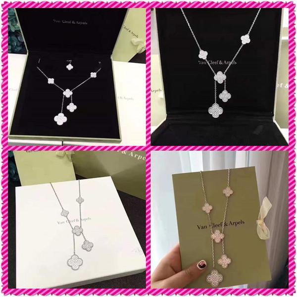 NecklaceVan Cleef ArpelsFull diamant platine en argent sterling plaqué Clover chaîne Clavicule collier pendentif très beautifu104004