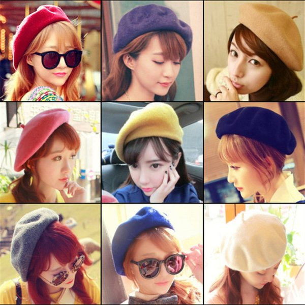 Hot Sale 2018 Cheap Fashion New Women Wool Solid Color Beret Hats Women Winter All Combined Warm Hat Walking Hat Cap 19 Color