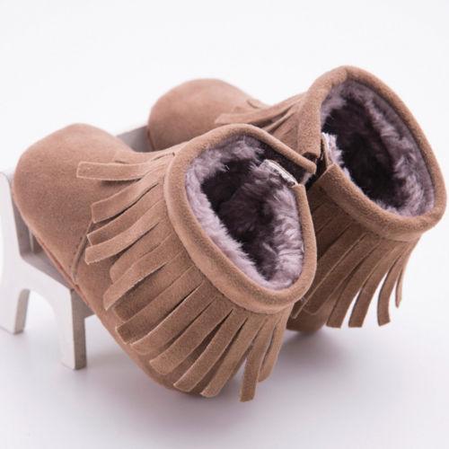 Newborn Toddler Baby Toddler Boys Girls Cartoon Tassel Anti-Slip Flat Boots Warm Slippers Crib Shoes