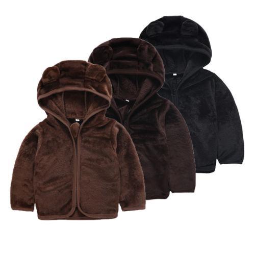 2-6 T Criança Bebê Menino Urso Orelha Inverno Quente Macio de Pelúcia Com Capuz Camisola Jaqueta Casaco Tops Outerwear Roupas de Bebê Snowsuit