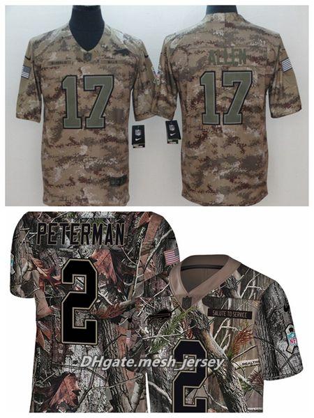 competitive price 48e35 590f6 2019 Men Buffalo Bills Football Jersey 17 Josh Allen 2 Peterman Camo Salute  To Service Limited Stitching Jersey From Lama001, $22.14 | DHgate.Com