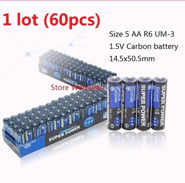 60 adet 1 grup Boyutu 5 R6 UM-3 1.5 V Kuru Karbon Pil Hiçbir Kaçak Yağ 1.5 Volt Piller Ücretsiz Nakliye