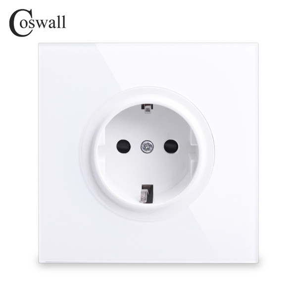 best selling Coswall 2018 New Arrival Crystal Glass Panel 16A EU Standard Wall Power Socket Outlet Grounded With Child Protective Lock