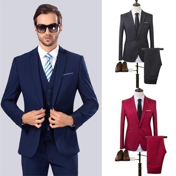 Zogaa High Quality Business Suit New Men Business Slim Sets Wedding Dress Suit Blazers Coat Trousers Waistcoat Trousers Xs-3xl J190420