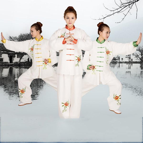 best selling Chinese Kung Fu Tai Chi Uniform Spring Autumn Long Sleeve Traditional embroidered Tang Suit sets Shirt Pants for Men Women