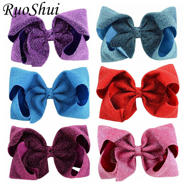 Hot Solid Bling Fabric Hair Bows Accessories with Clip Boutique Shinny Big Bow Hairpins Hair Ornaments for Girls Kids Women Gift