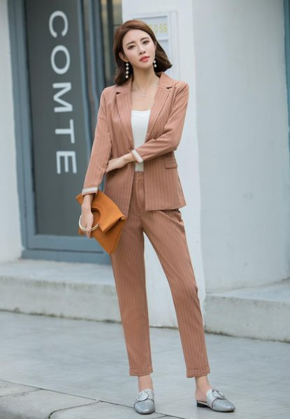2019 Stripe Spring Office Ladies'Suit Fashion Jacket & Pantsuit Office Lady Autumn Long Sleeves Suit Jacket Trousers (Two Piece)