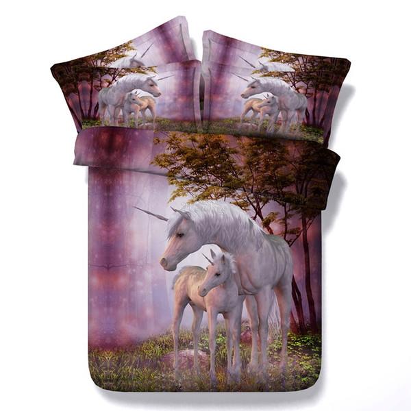 Cartoon Unicorn Plants Flowers Bedding Set Pink Blue Duvet Cover Set Floral 3Pc Bedspreads Queen Adult Kids 3d Horse Bedclothes