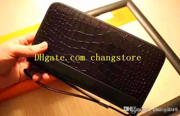 designer luxury handbags purses men designer wallet 3536 black big size square Crocodile texture zipper handbag casual money purse 01