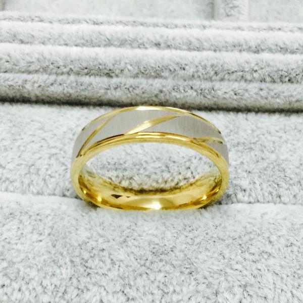 USpecial 18 carati placcato oro dell'acciaio inossidabile anelli amore coreano per uomini donne fidanzamento anniversario amanti, lui e per lei promessa 2 tone