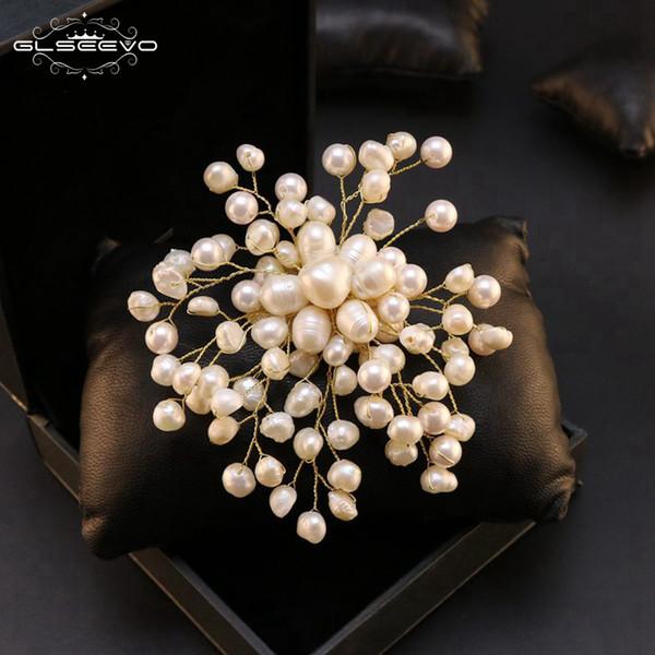 GLSEEVO Natürliche Süßwasser Barock Perle Schneeflocke Broschen Für Frauen Party Hochzeit Brosche Pins Luxus Handgemachten Schmuck GO0332