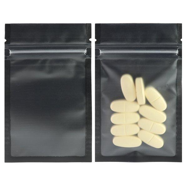 Sac de paquet zip-lock plat en plastique clair / noir / noir de sacs de verrouillage 100pcs