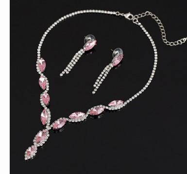 Nobre de baixo preço de alta qualidade da jóia da noiva do casamento da jóia do diamante de cristal brincos colar 6.5gyt