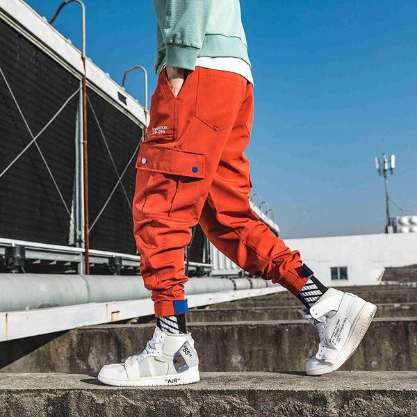 Drop Shipping Büyük Cep Marka Rahat Harem Pantolon 2019 Erkekler HIP HOP joggers Kargo pantolon