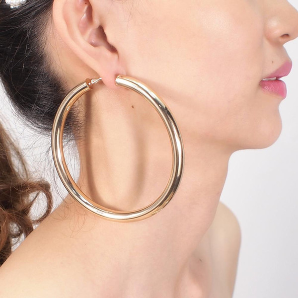 Wholesale earrings trends for sale - Group buy Hoop mm Diameter Wide Copper Hoop Earrings For Women Jewelry Trend Round Metal Statement Big Earrings Accessories UKMOC