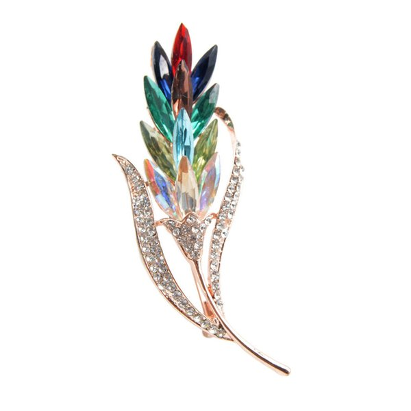 New fashion Assorted Colors Crystal Rhinestones Wheat Brooch Pins for Women's Fashion Coat Dress Corsage Jewelry accessories 10pcs/lot