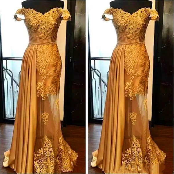2019 Off The Shoulder Long Evening Dresses Arabic Golden Tulle Applique Ruched Beaded Floor Length Pageant Formal Party Gowns Prom
