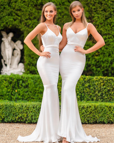 2019 Spaghetti Straps Satin Mermaid Long Bridesmaid Dresses Ruched Country Floor Length Wedding Guest Maid Of Honor Vestidos De Festa BM0607