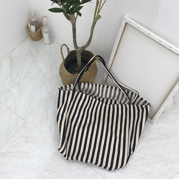 5PCS / LOT Canvas Shopping Bag Folding Large Capacity Small Stripes Beach Bags Handbag Shoulder Soft Handbag Tote