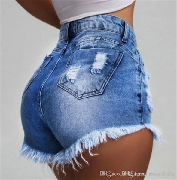 Schlank Cowboy Frauen Shorts mit hoher Taille Gebrochene Holes Jeans Mode Quaste Sexy Cowboy Shorts Jeans Weibliche Hot-dünne Hosen