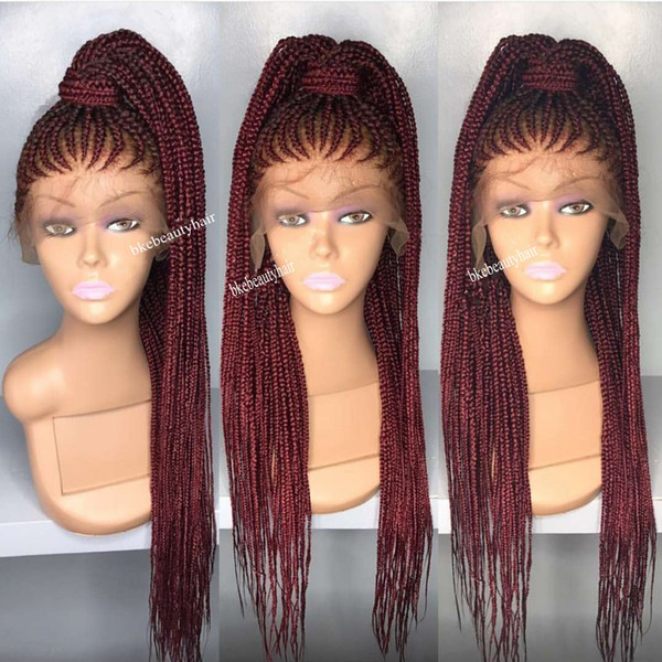 Long wine red Cornrow Braids Crochet Wig micro braids full lace Front Synthetic Wigs For Black Women African American box Braided Wigs