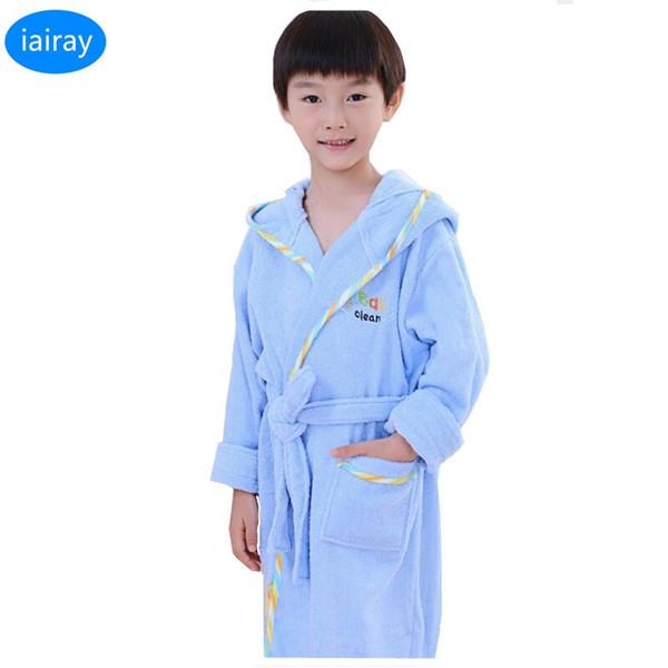 Boys Bathrobe Kids Hooded Poncho Towel Pink Bathrobe For Girls Roupao Blue Bath Robe Green Loose Cotton Pajamas Baby Bath Robes J190520