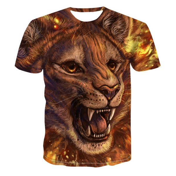 Lion And Tiger T shirt Animal 3d T-shirt Punk Print Shirts Gothic Plus Size Mens Clothing Funny Tshirt Men Short Sleeve Big