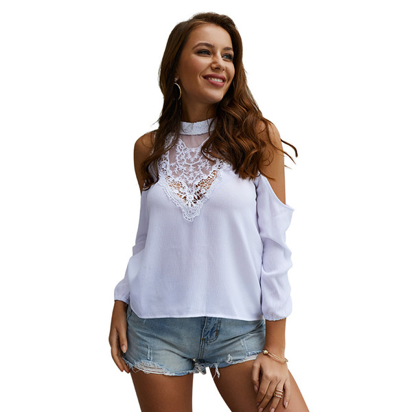 b58ee11c205bc Lady Long Sleeves Lace Patchwork Women Off Shoulder Stand Collar Sexy Tops  White Pink Blue Size S To XL Female Shirts Shirt On T Shirt Hilarious Tee  ...