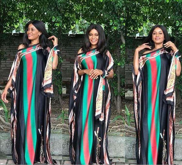 Alineadas africanas las mujeres calientes de la venta del tamaño grande de la manera Impreso imitación vestido de seda de cuello atractivo barra estilo suelto Maxi vestidos + Pañuelo de múltiples