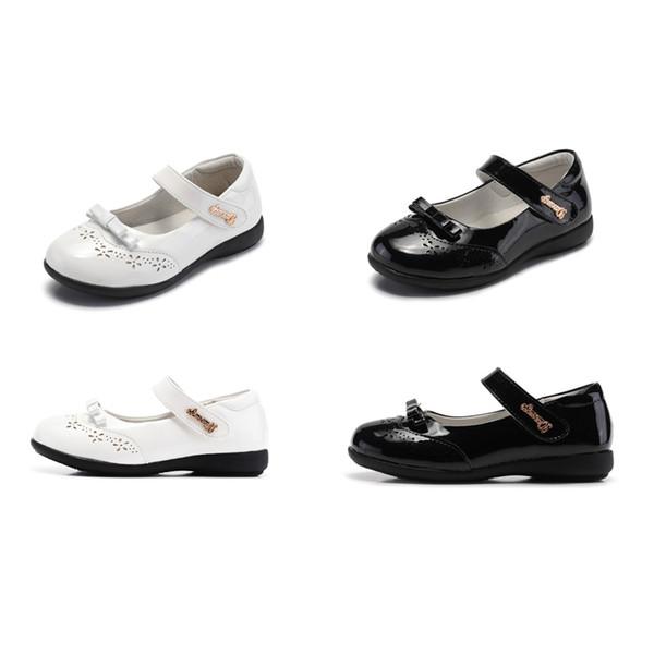 Meninas da criança Sapatos de Couro Partido 5 + Gancho Linha de Pele De Porco Sólida Bow Tie Meninas Sapatos de Dança Peform Sapatos Festa de Casamento Calçados Casuais 4-14 T