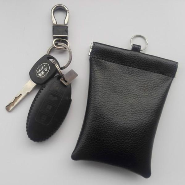 Solid Black Rindsleder Echtes Leder Autoschlüssel Kartenhalter Organizer Tasche RFID Elektromagnetische Sperrung Abdeckung Fernbedienung Brieftasche