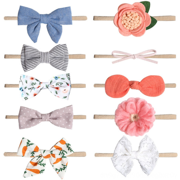 best selling 80915 baby printed bowknot butterfly band 10 children's hair accessories set imitation flower nylon small hair band