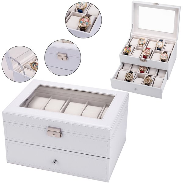 20 Grids Faux Leather Watch Box Case Jewelry Box Glass Top Display Lockable Holder Organizer for Clock Watches Boxes gift Case