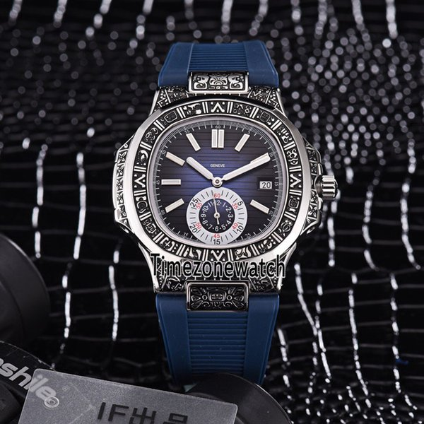 New Sport Nautilus Steel Vintage Engraving Case 5980/1 5980/1A-014 Blue Texture Dial Automatic Mens Watch Blue Rubber Watches Timezonewatch