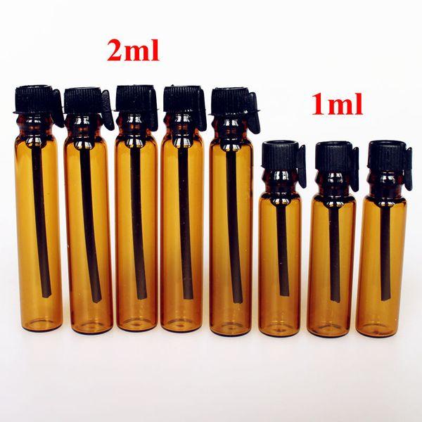 100 unids / lote 1 ML 2 ML botella de perfume de vidrio ámbar tubo vacío botella de vidrio 1cc 2cc muestra de prueba frascos de botella con